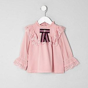 Mini girls pink lace frill swing top