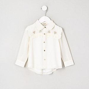 Mini girls cream frill long sleeve shirt