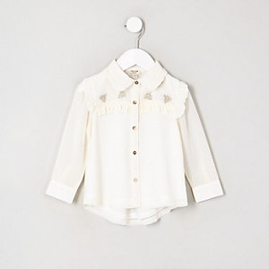 Mini girls cream frill long sleeve shirt