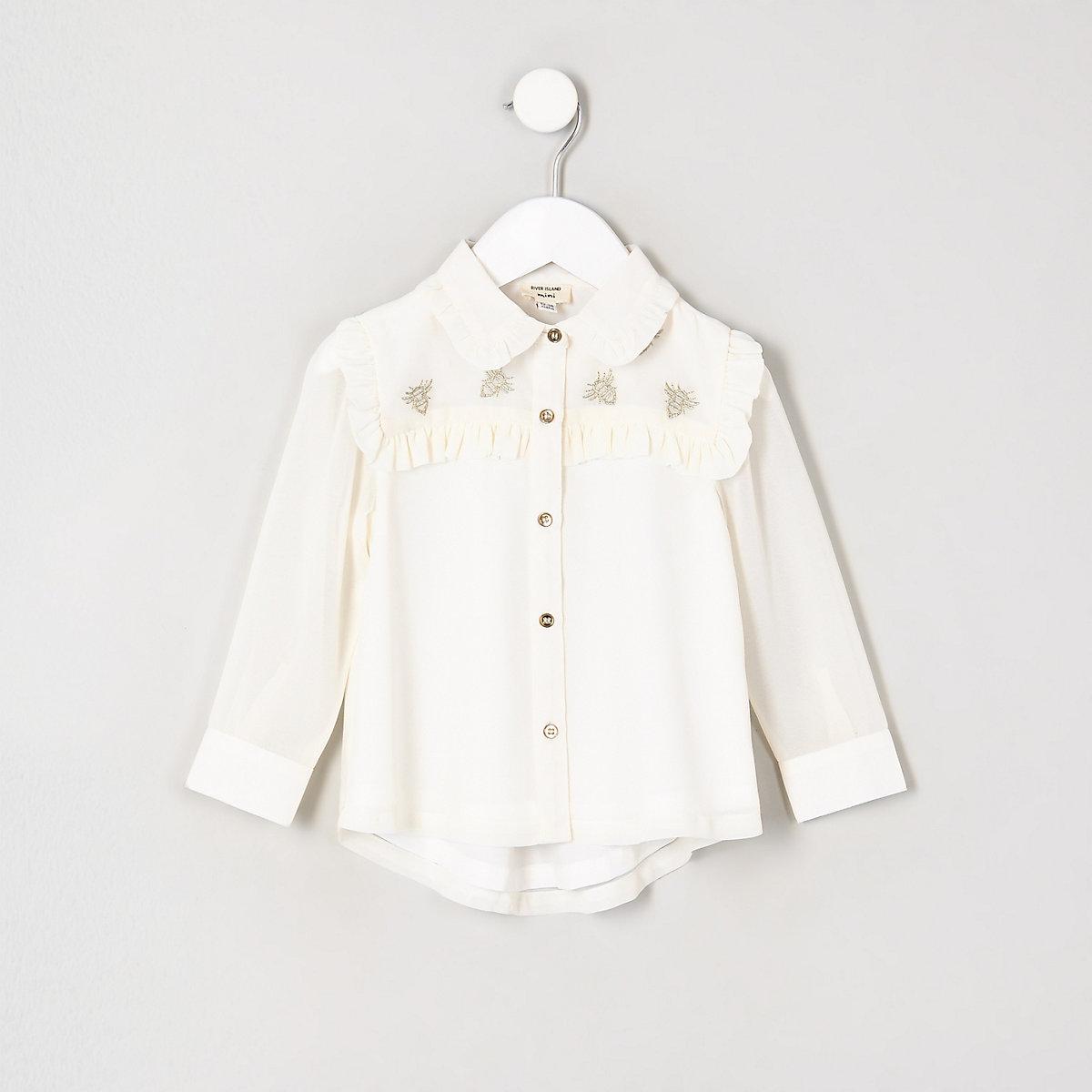Mini girls cream frill long sleeve blouse
