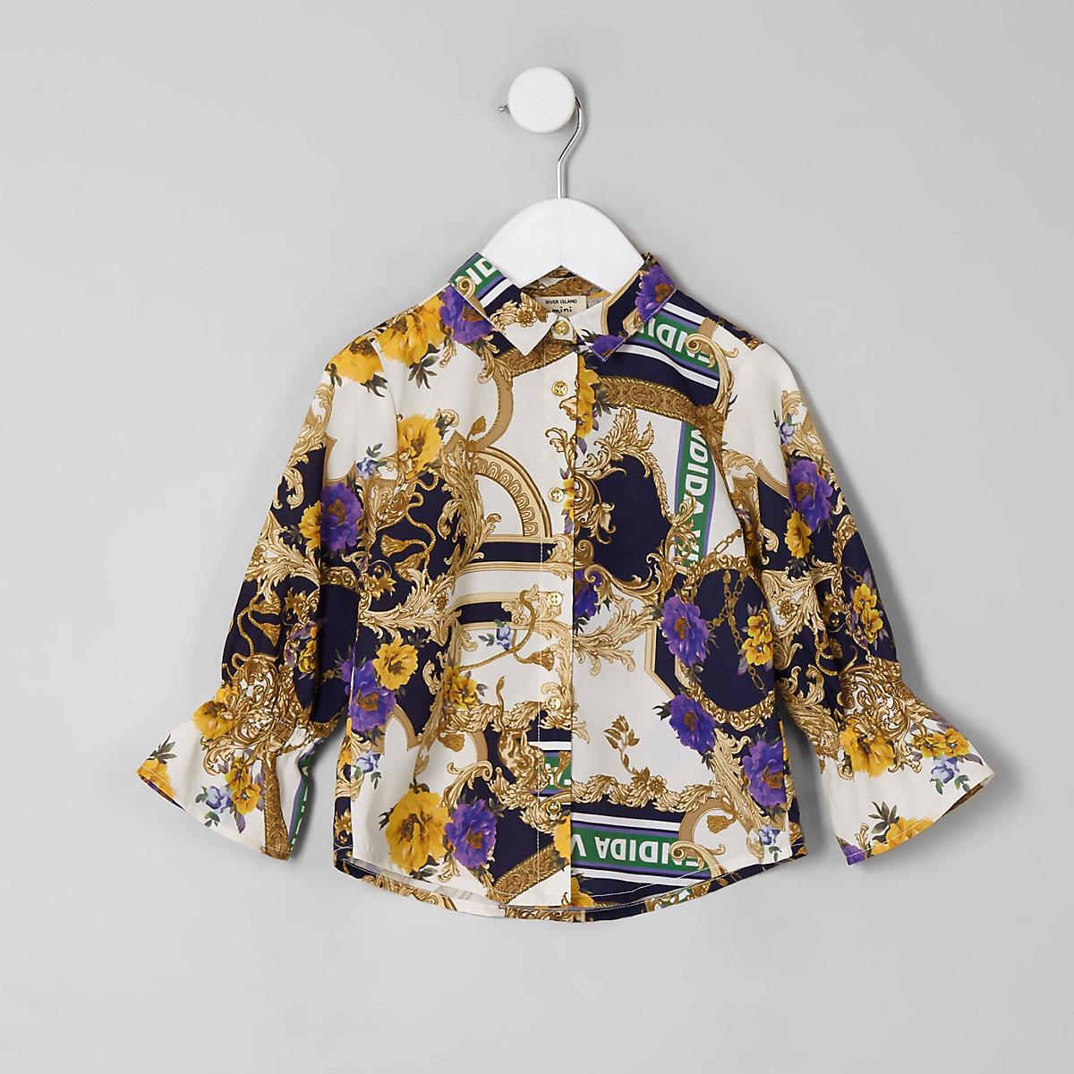 Mini girls cream baroque print shirt