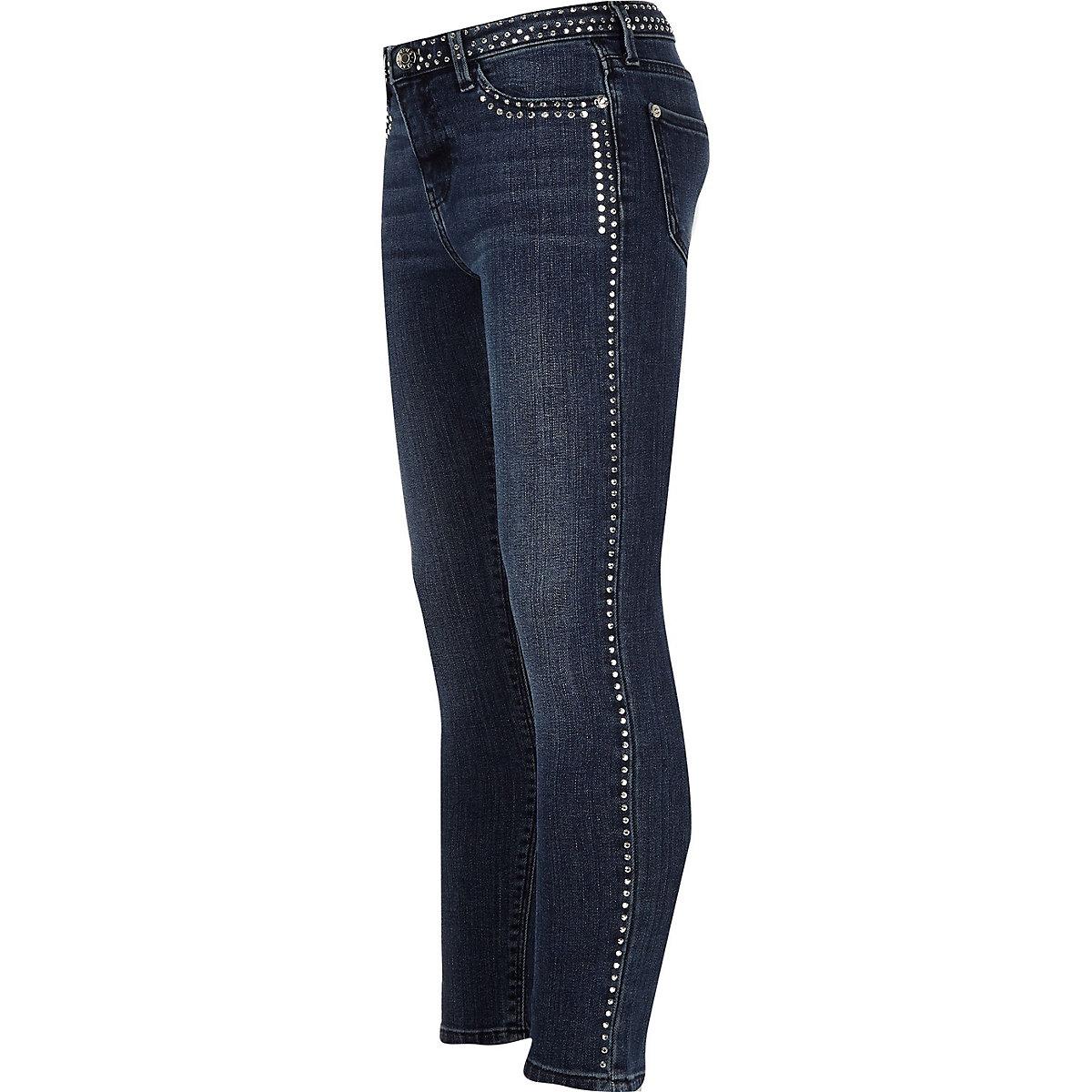 Girls blue Amelie studded skinny jeans