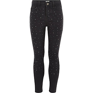 Girls grey Amelie stud embroidered jeans
