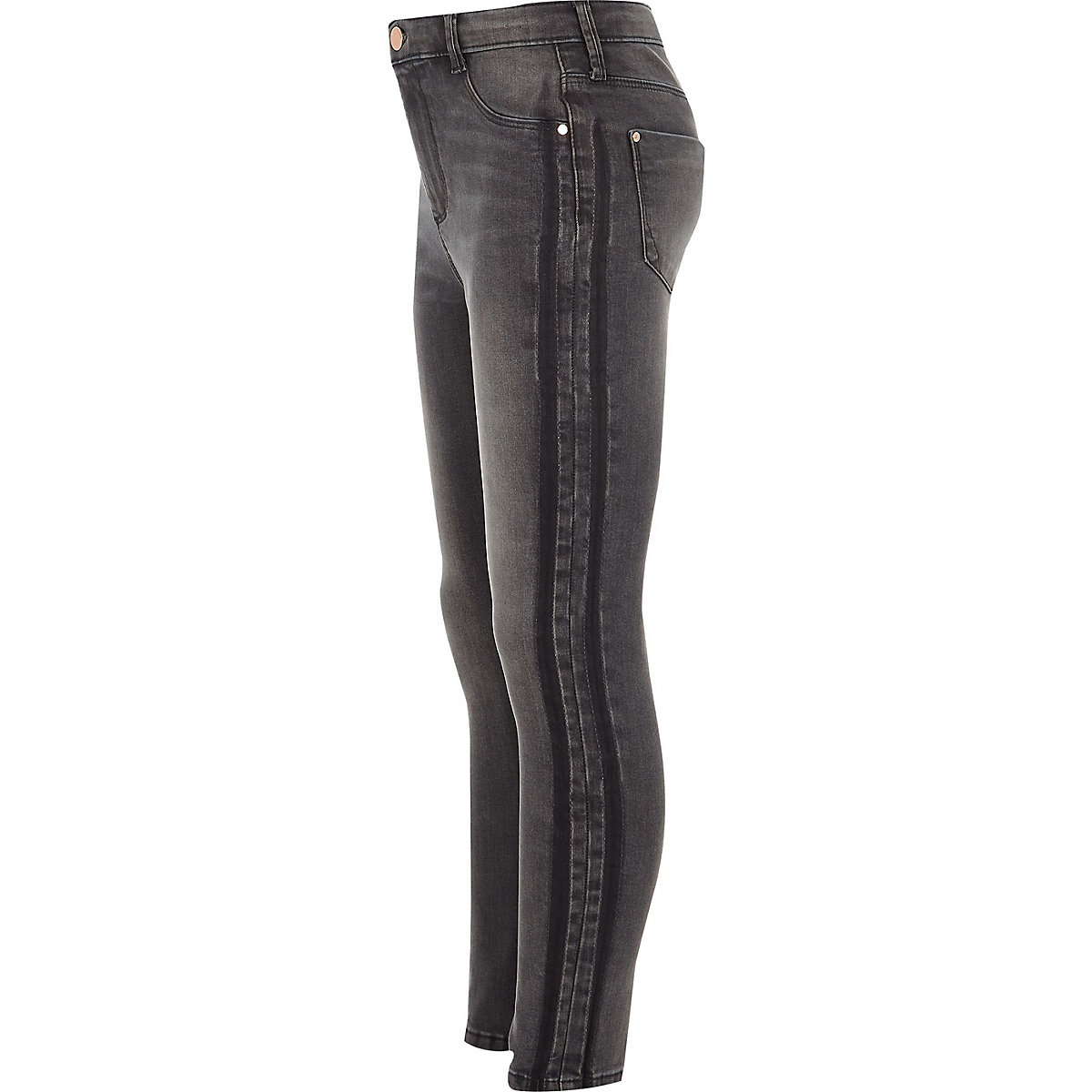 Girls grey wash tape Molly jeggings
