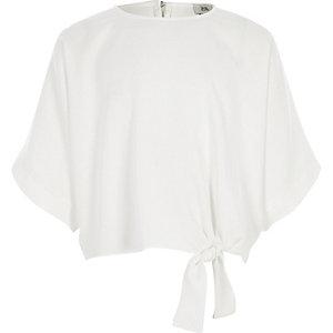 Top blanc à manches courtes noué sur les côtés pour fille