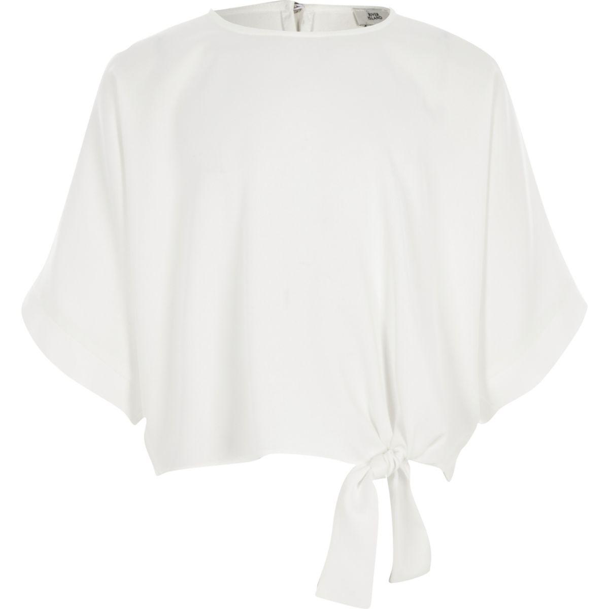 Girls white short sleeve tie side top