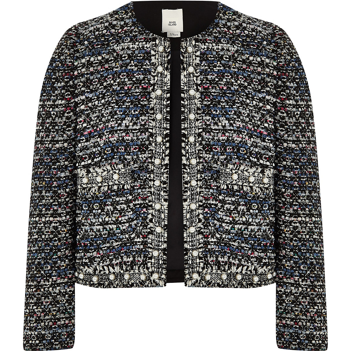 Girls blue pearl trim boucle jacket