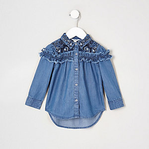 Mini girls blue frill denim swing shirt