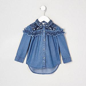 Chemise en denim bleue à volants mini fille
