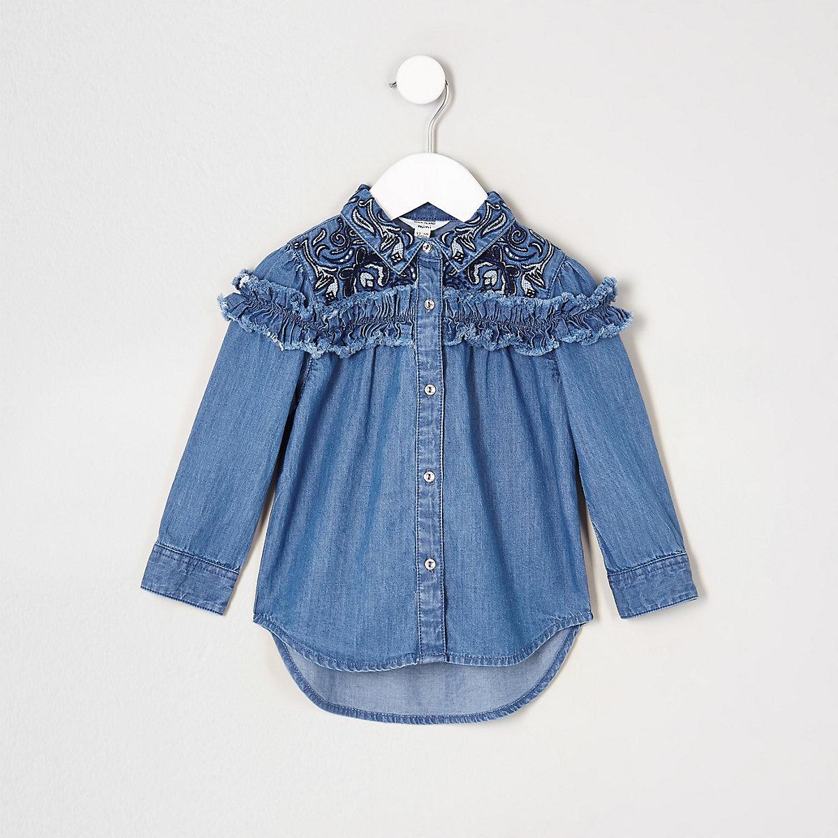 Mini girls blue frill denim swing shirt