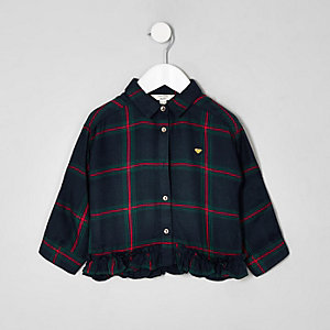 Mini girls navy check tape shirt