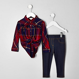 Mini girls red check shirt and legging outfit