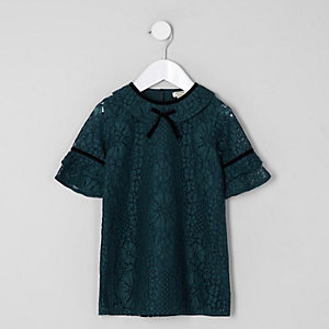 Mini girls green lace shift dress