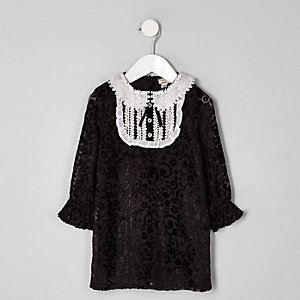Robe droite noire à col boutonné pour mini fille