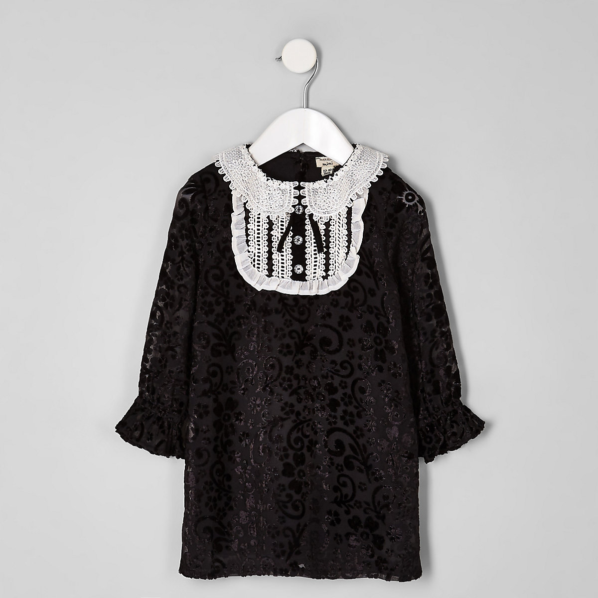 Mini girls black collar button shift dress
