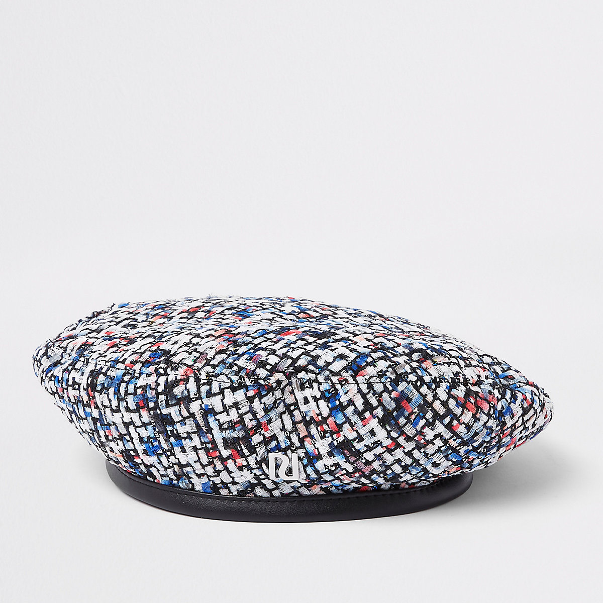 Girls cream sequin boucle beret