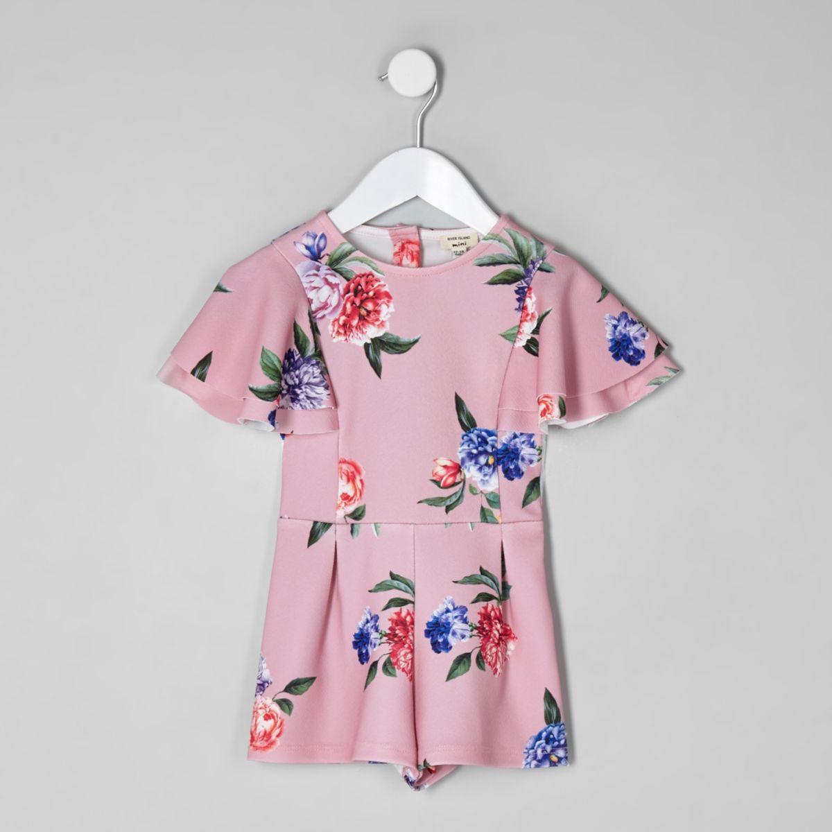 Mini girls pink floral frill romper