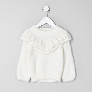 Mini girls cream fluffy ruffle trim jumper