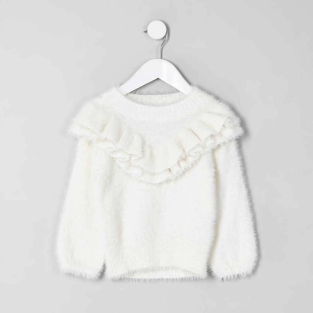 Mini girls cream fluffy ruffle trim sweater