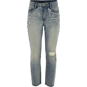 Bella - Blauwe verfraaide denim jeans voor meisjes