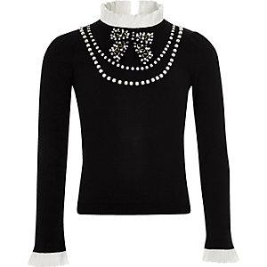 Schwarzer, perlenbesetzter Rüschen-Pullover