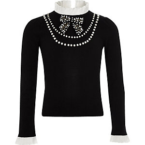 Girls black frill pearl embellished sweater