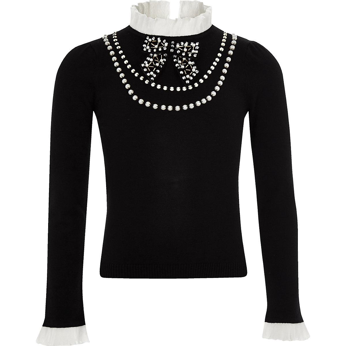 Girls black frill pearl embellished jumper