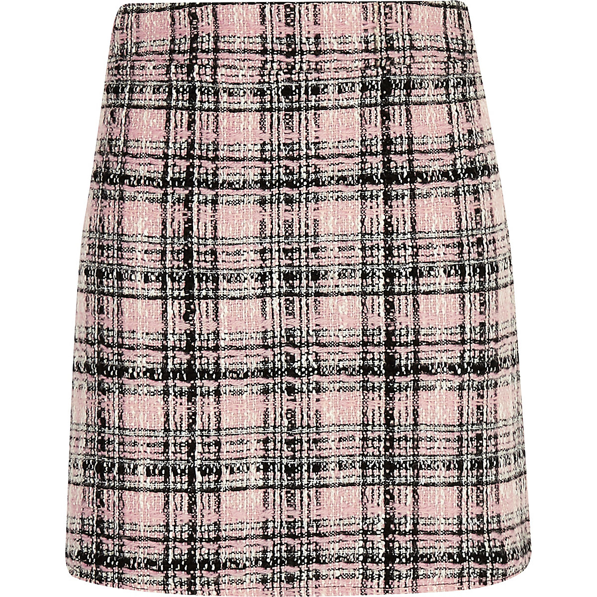 Girls pink boucle check skirt