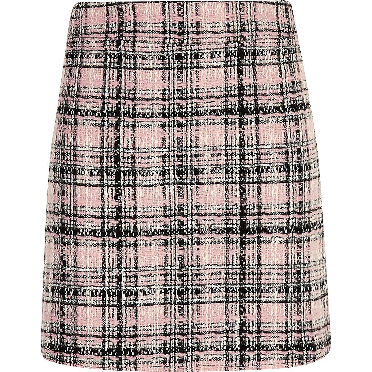Girls pink boucle check skirt