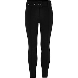 Girls RI Active black ponte belted leggings