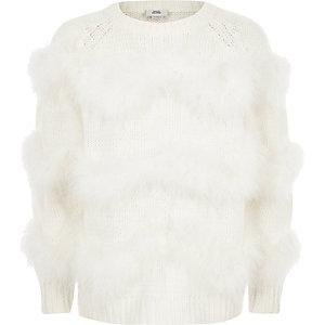 Crème pullover met zigzagprint en maraboe-imitatiebont voor meisjes