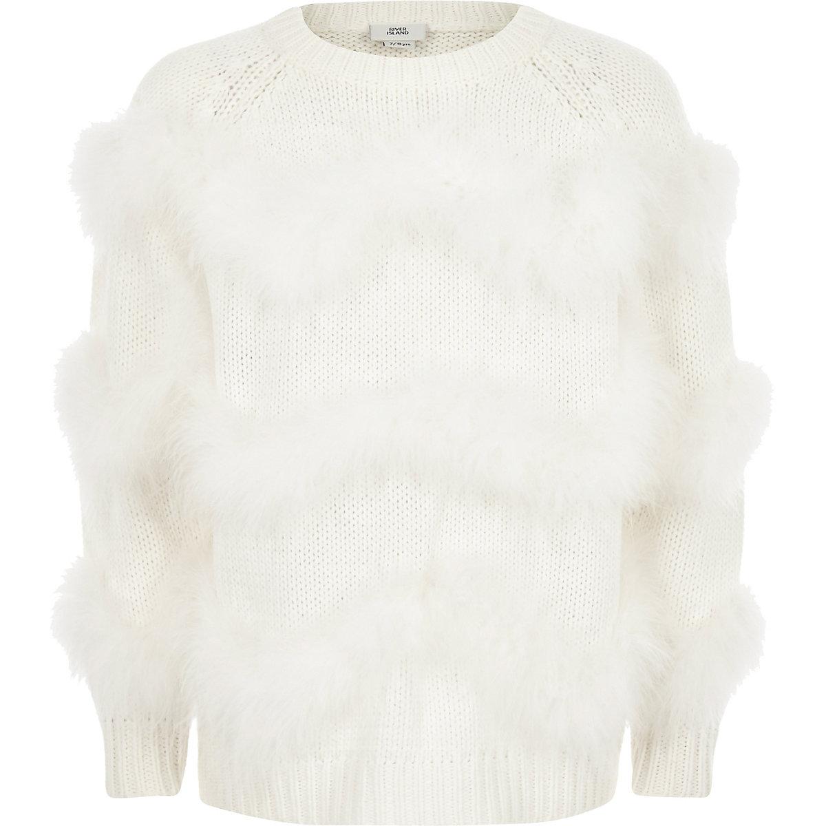 4ec781177 Girls cream marabou faux fur chevron jumper - Cardigans   Jumpers ...