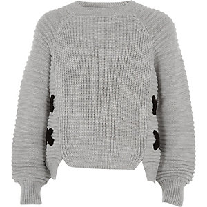 Girls grey knit cross front jumper