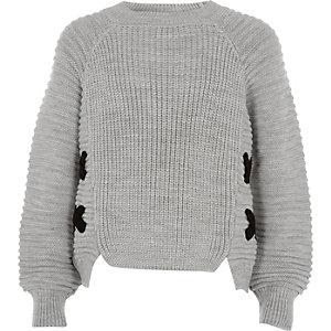 Girls grey knit cross front sweater