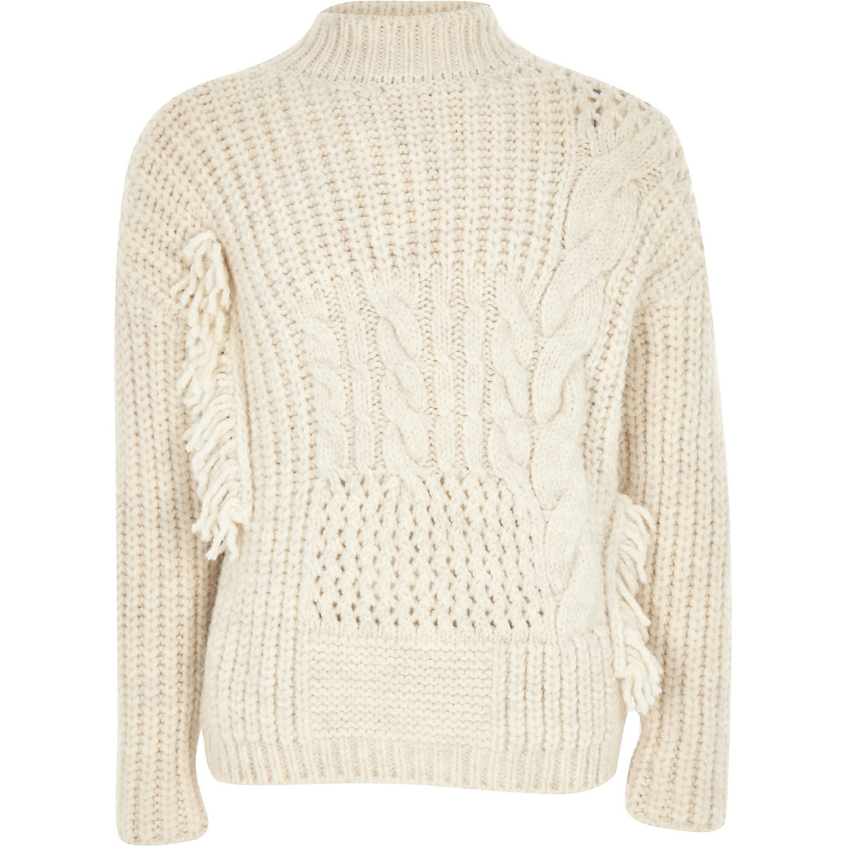 Girls cream cable knit high neck jumper