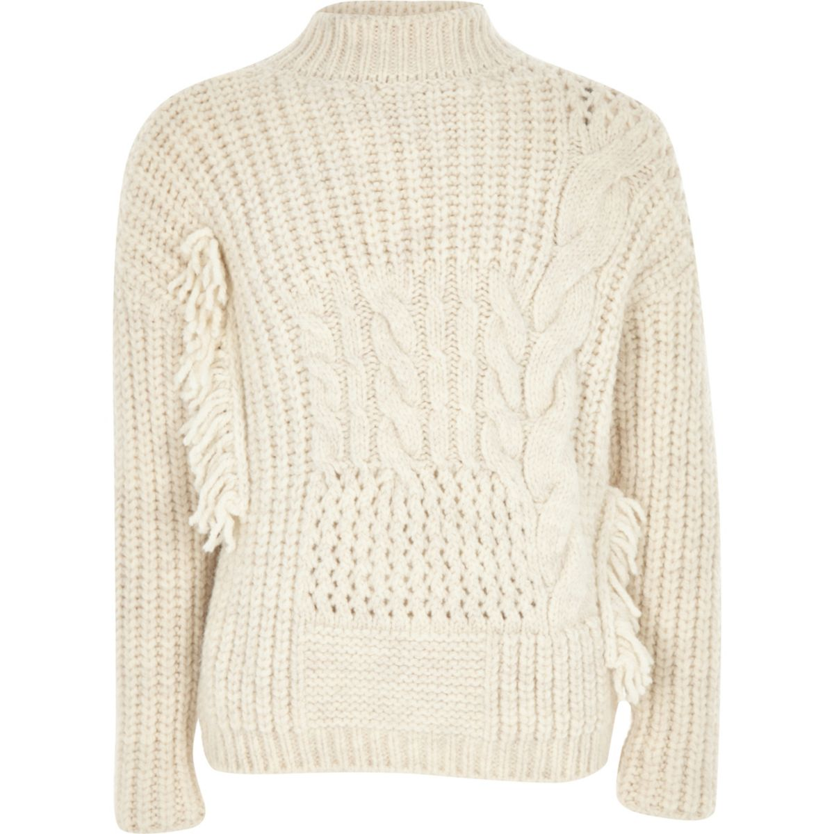 Girls cream cable knit high neck sweater