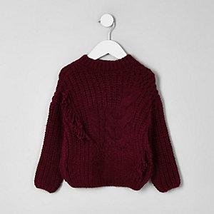 Mini girls dark red cable knit jumper