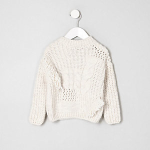 Girls cream mixed cable knit crew neck sweater