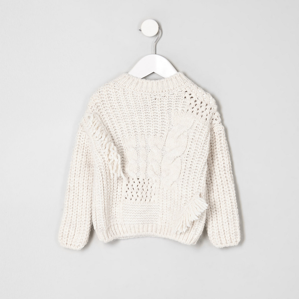 Mini girls cream mixed cable knit sweater