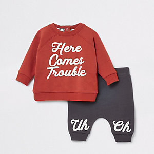 Baby red 'here comes trouble' jogger outfit