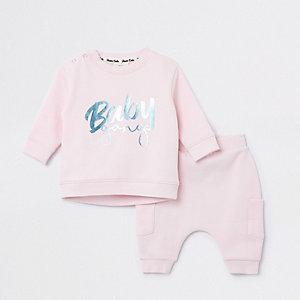 Outfit met roze sweatshirt met 'Baby gang'-print voor baby's