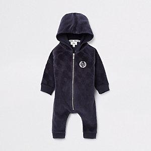 Baby navy RI logo zip-up romper