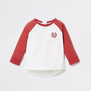 Rood T-shirt met RI-logo en lange mouwen voor baby's