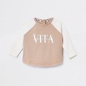 Baby cream 'La Vita' raglan T-shirt