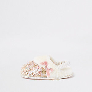 Mini girls cream boucle faux fur trim slipper