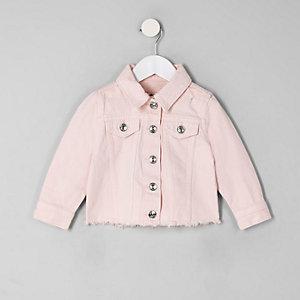 Pinke Jeansjacke mit Fransen