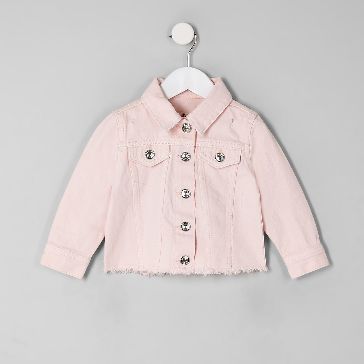 Mini girls pink fray hem denim jacket