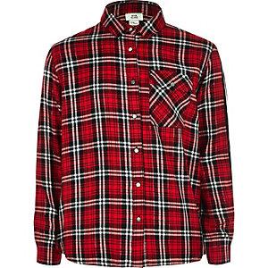 Chemise à carreaux rouge à bande latérale pour fille
