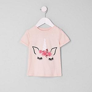 Mini girls pink unicorn print T-shirt
