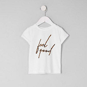 Mini girls white 'feel good' leopard T-shirt